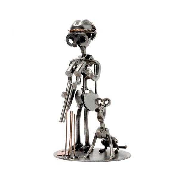 Lovec in pes, kovinska skulptura