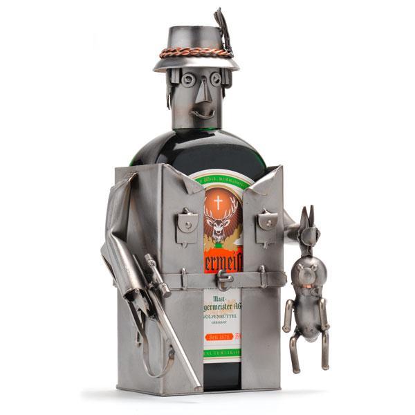 Lovski nosilec za steklenico, kovinska skulptura