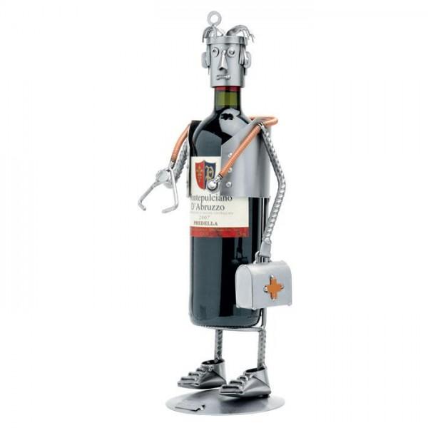 Zdravnik (stojalo za steklenico), kovinska skulptura