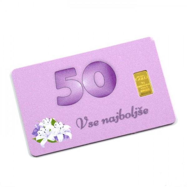 Kartica z 1g zlata čistine 999,9 (50. rojstni dan)
