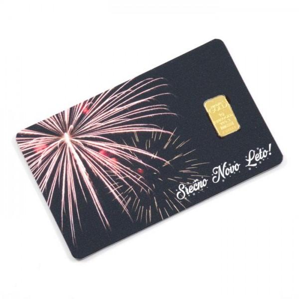Kartica z 1g zlata čistine 999,9 (Srečno Novo Leto)