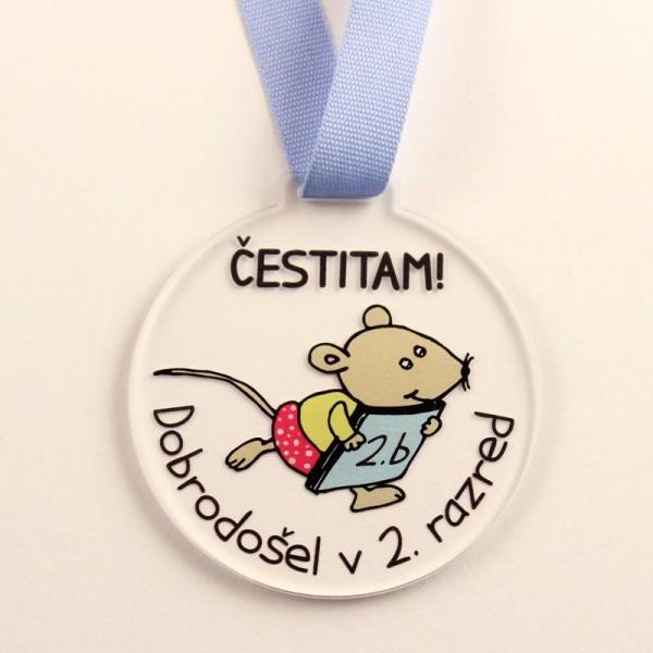 Otroška medalja Čestitam dobrodošel v 2. razred, za fantke