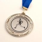 Kovinska medalja za športnike, srebrna, premer 8 cm