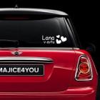 Avto nalepka srčki in napis po želji