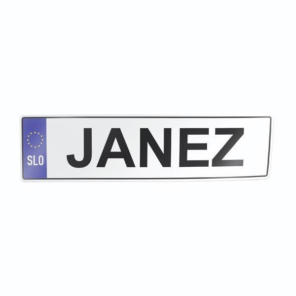 Nalepka za avto tablica z imenom