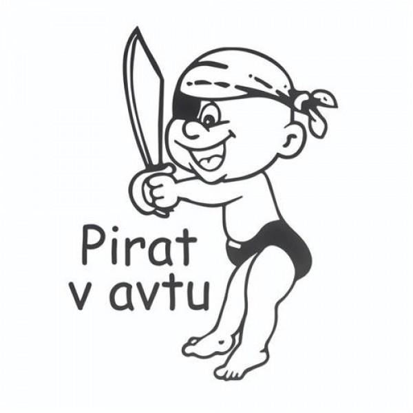 Avto nalepka pirat v avtu z napisom