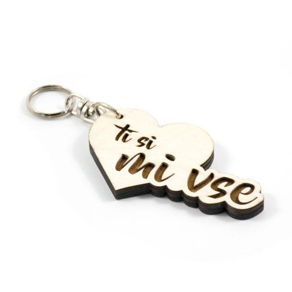 Lesen obesek za ključe z napisom Ti si mi vse
