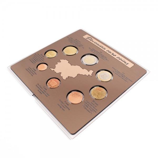Komplet zbirke prvih slovenskih evro kovancev (angleška verzija)