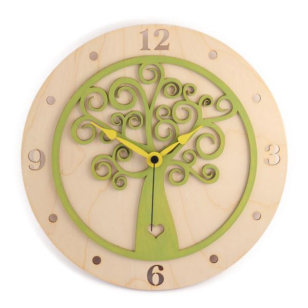 """Stenska ura """"Hrastnik (zelena)"""", premer 30 cm"""