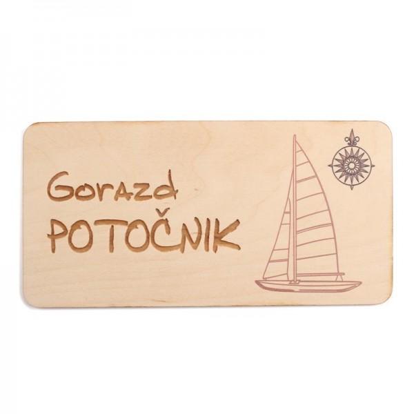Lesena tablica z imenom in priimkom 20 x 10 cm + GRAVIRANJE