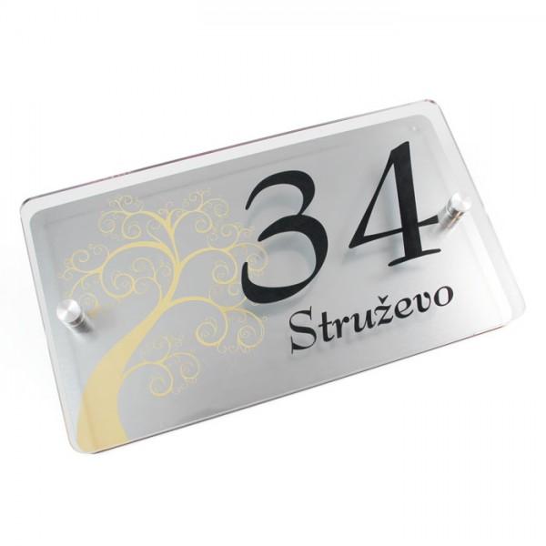 Hišna številka, srebrna tablica z distančniki