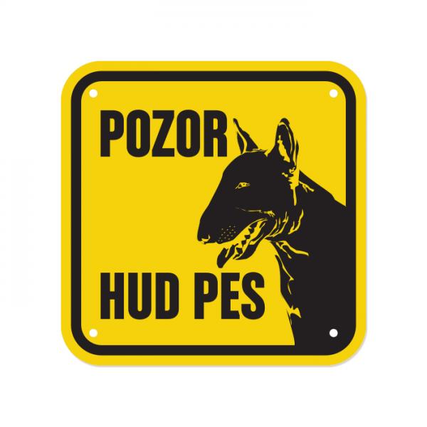 Opozorilna tablica Pozor hud pes, Bull terrier, 15 x 15 cm