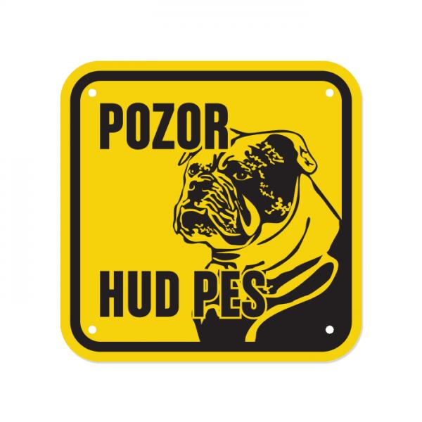 Opozorilna tablica Pozor hud pes, Bulldog, 15 x 15 cm