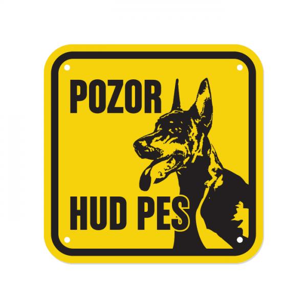 Opozorilna tablica Pozor hud pes, Doberman, 15 x 15 cm