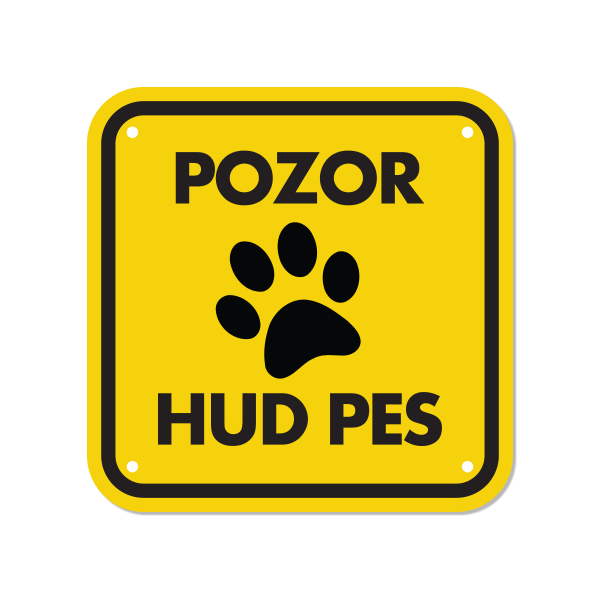 Opozorilna tablica Pozor hud pes, tačka 15 x 15 cm