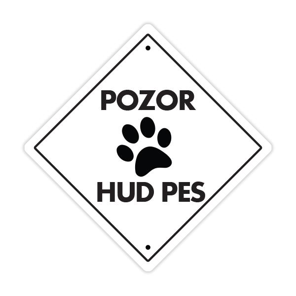 Opozorilna tablica Pozor hud pes, tačka (bela)
