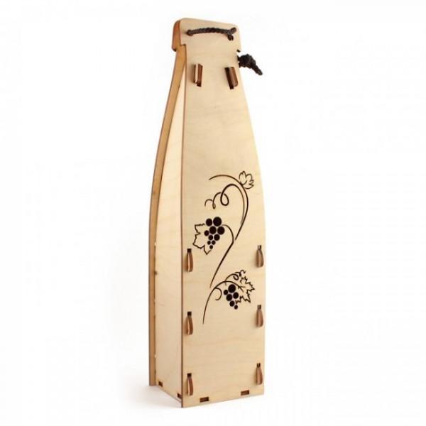 Lesena darilna embalaža za vino z gravuro
